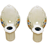 Set of three 1930's floral porcelain sconces