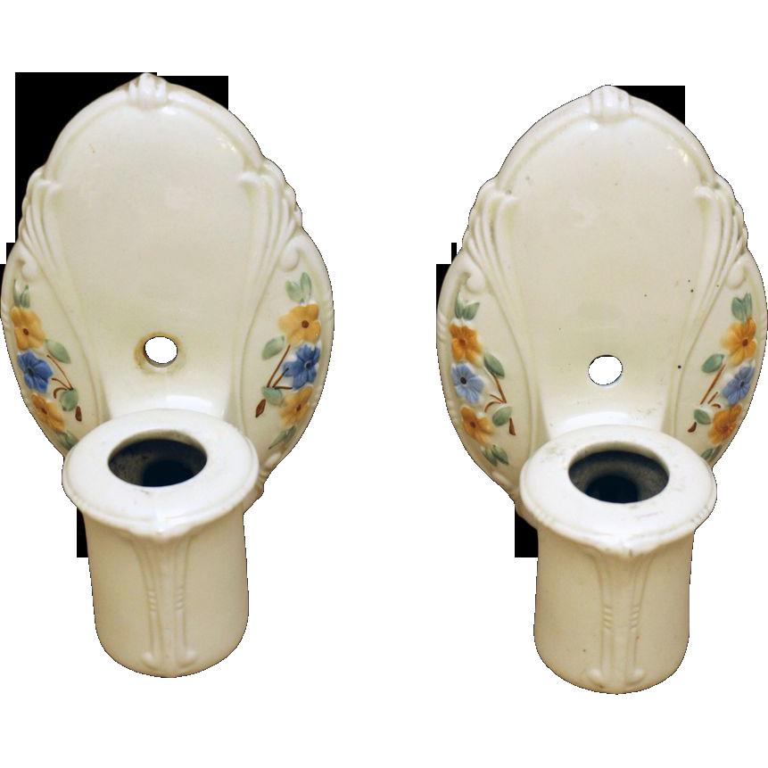 Set of three 1930's floral porcelain sconces
