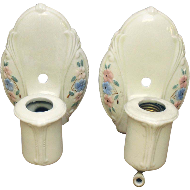 Pair of 1930's floral porcelain sconces