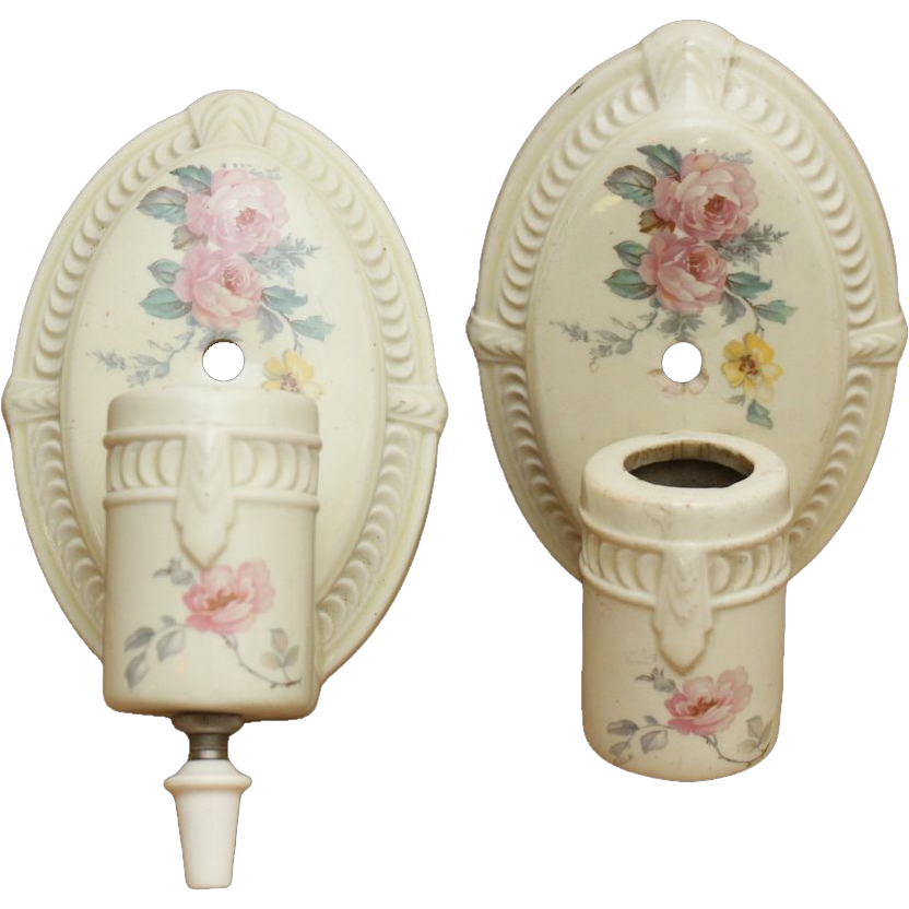 Pair of original floral porcelain sconces