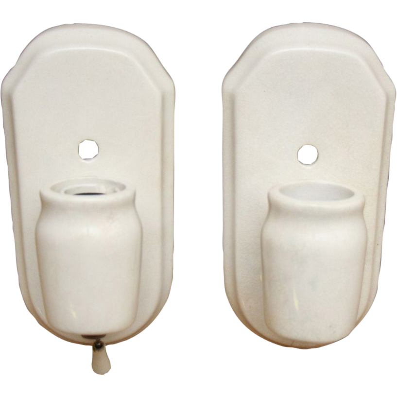 Simple porcelain 1940's white bathroom sconces