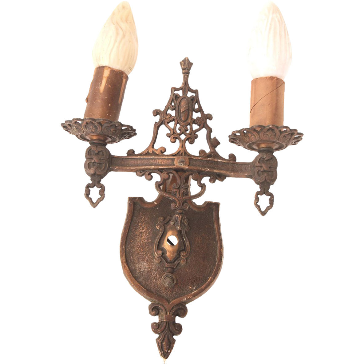 Set of three turn of the century double arm ornate sconces