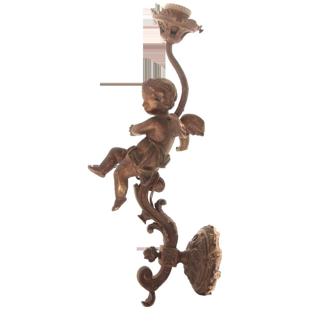 Original turn of the century cast bronze cherubic sconce