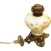 Vintage floral glass kerosene lamp base