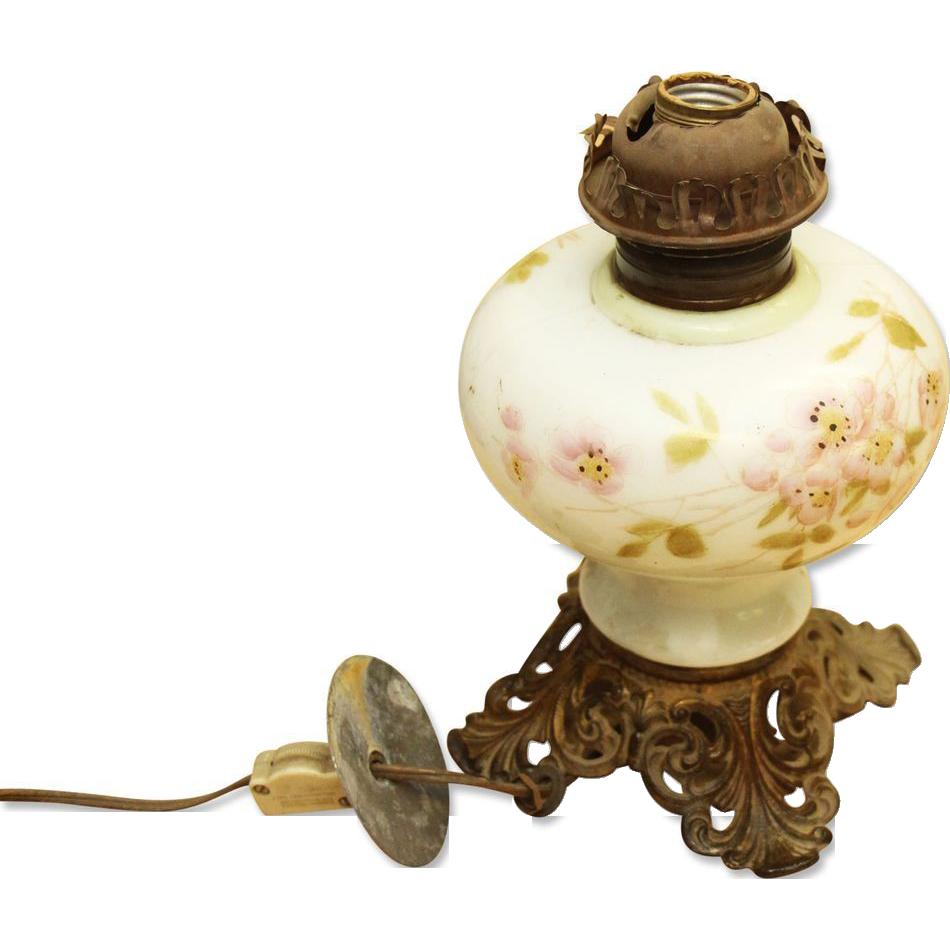 Vintage floral glass kerosene lamp base