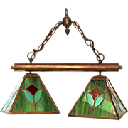 Beautiful stained slag glass double hanging light