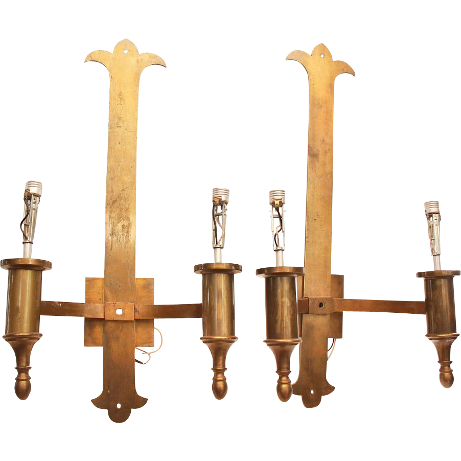 Pair of tall Ecclesiastical brass two arm sconces with brushed finish