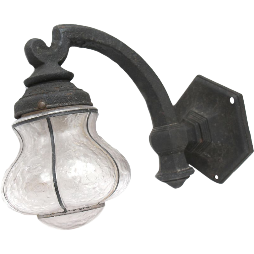 Exterior glass lantern sconce with metal base