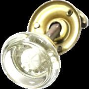 Art deco glass knob with closet spindle