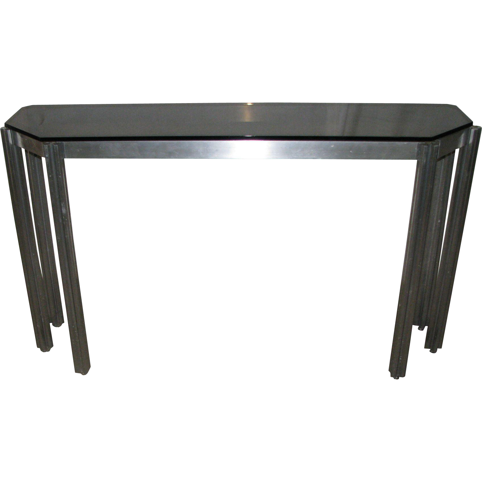 Mid century modern glass top console table from oldegoodthings on