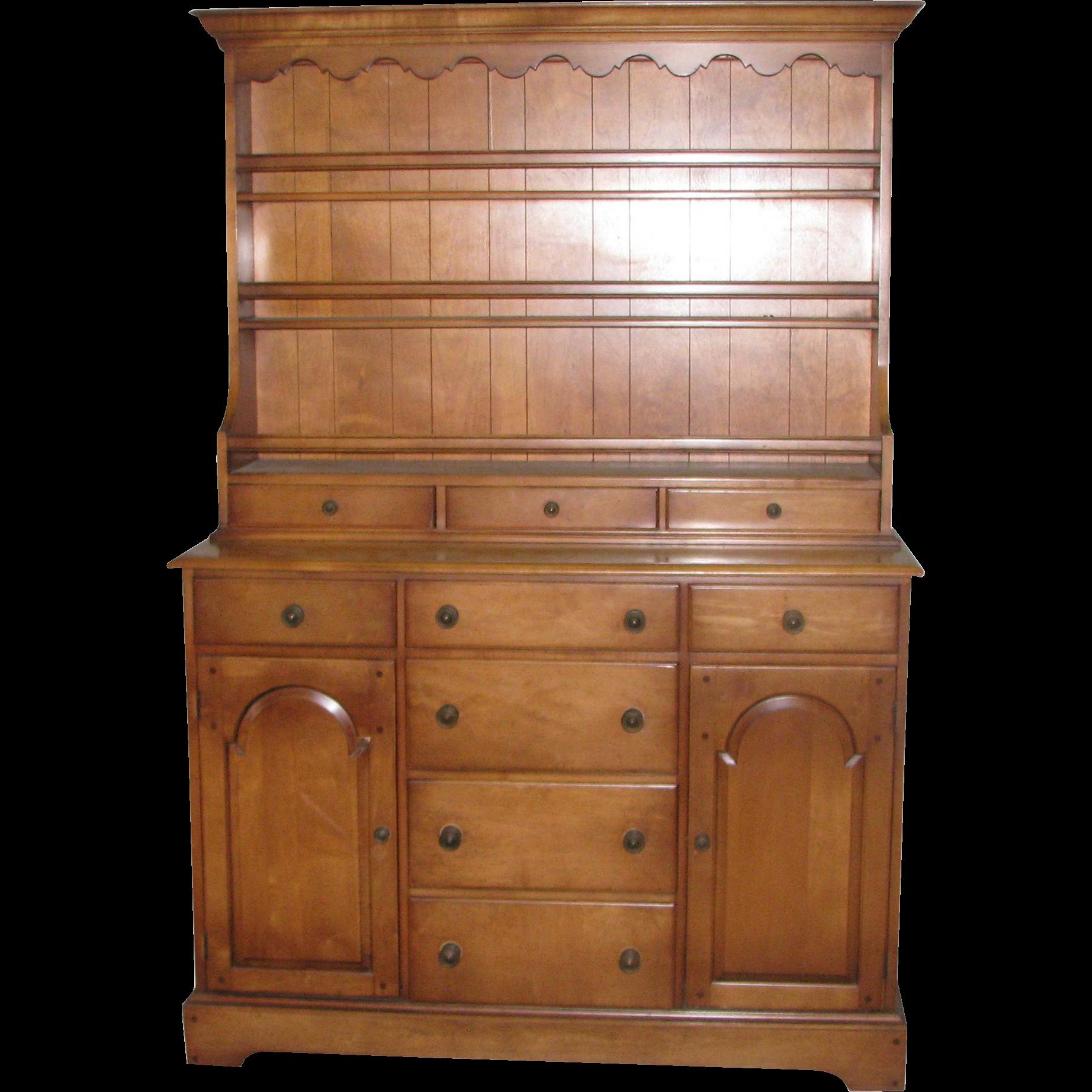 Vintage cherry hutch cabinet