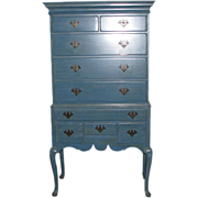 Blue vintage American tall boy dresser