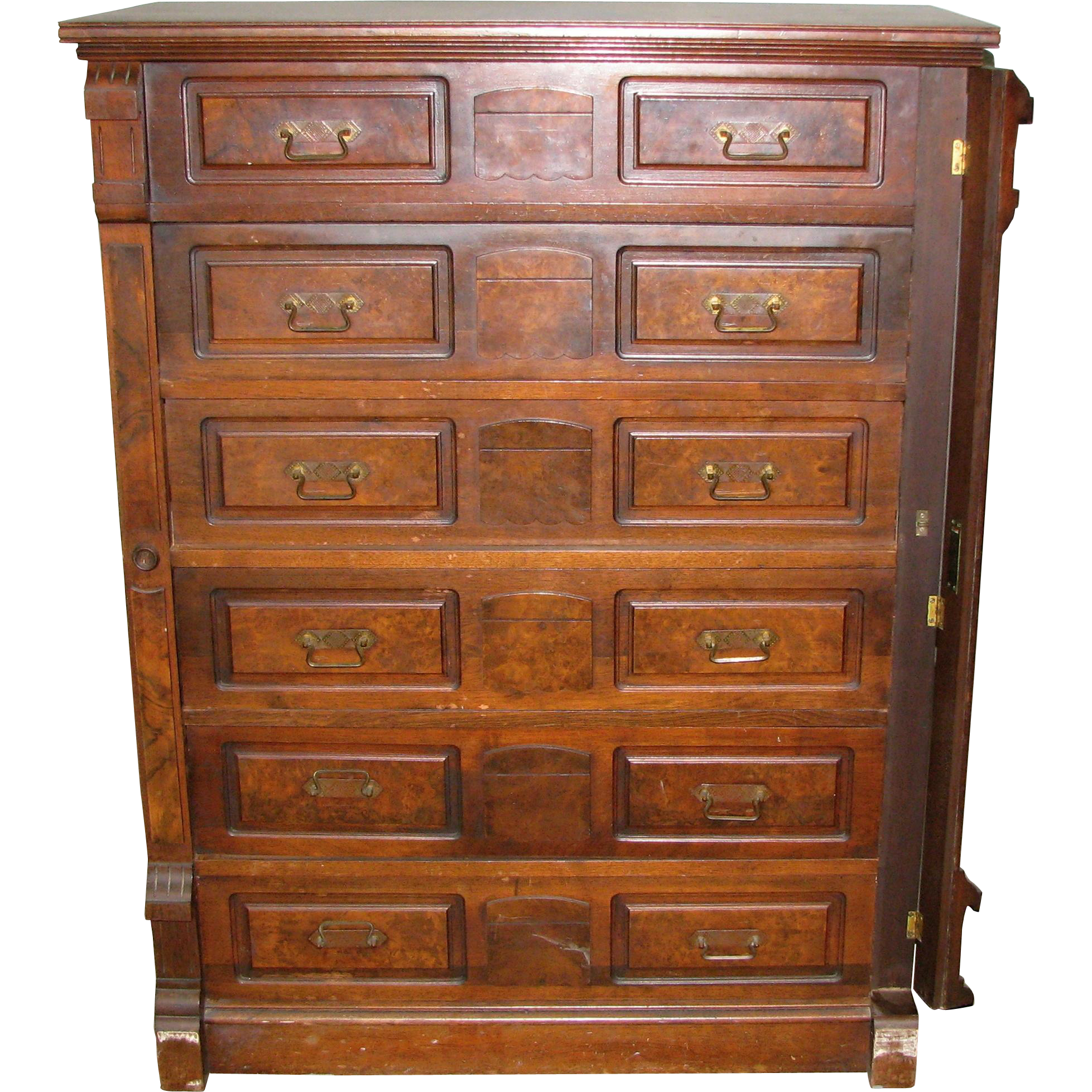 Stately walnut dresser with burled walnut panels