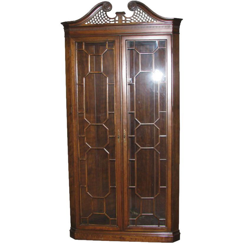 Classic vintage walnut display cabinet