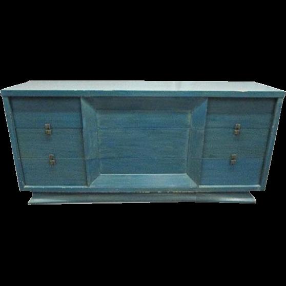 Mid century blue wooden dresser