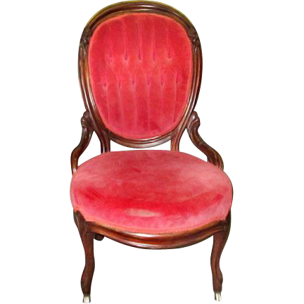 French carved parlor chair with tufted upholstered back