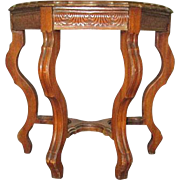 Carved burled walnut top side table