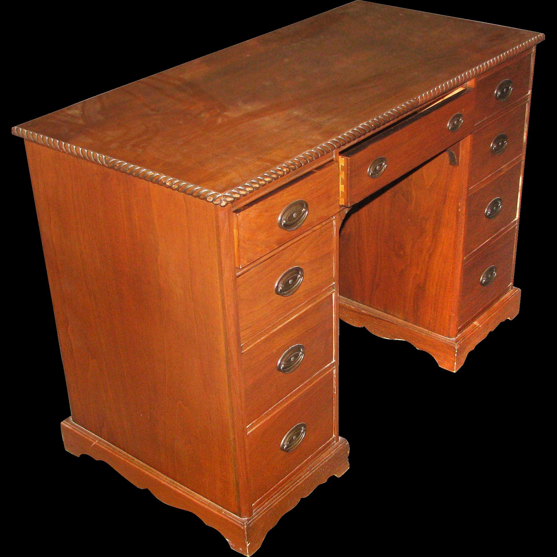 Vintage wood desk with rope detail