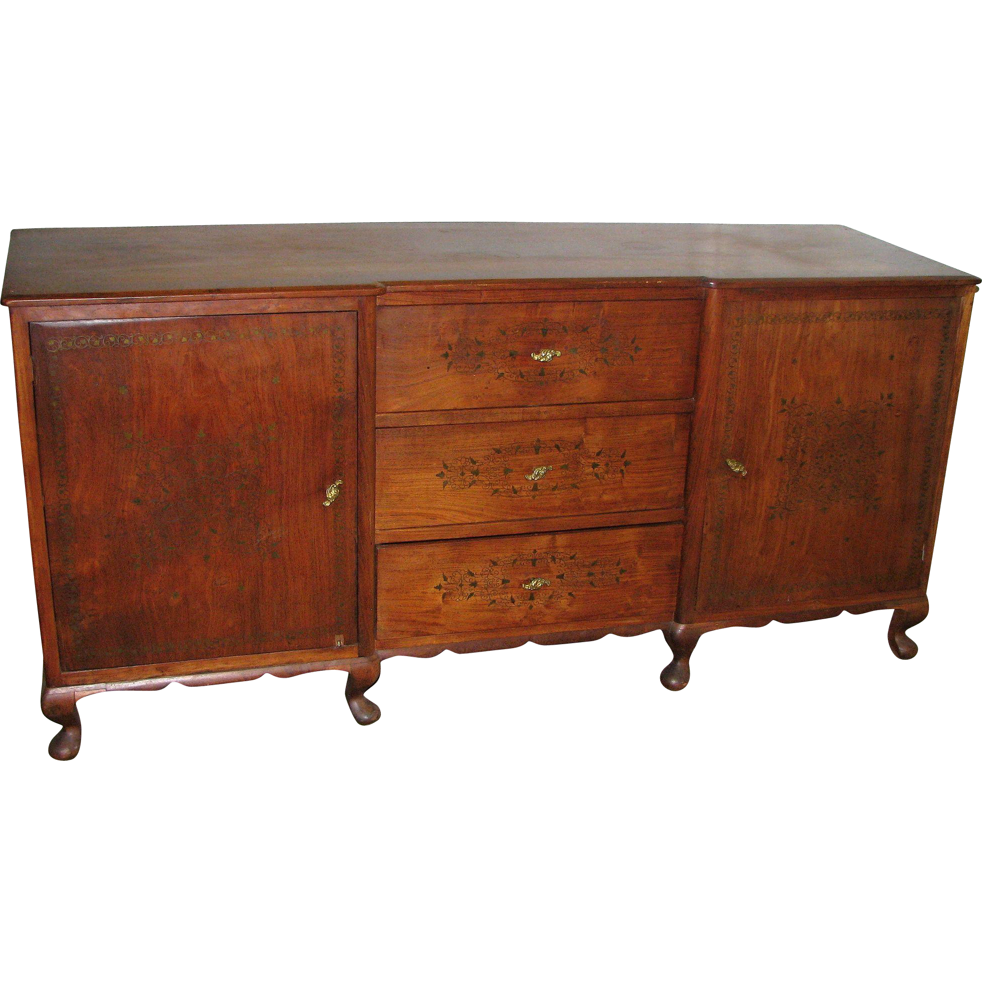 Wooden dresser with inlaid detail