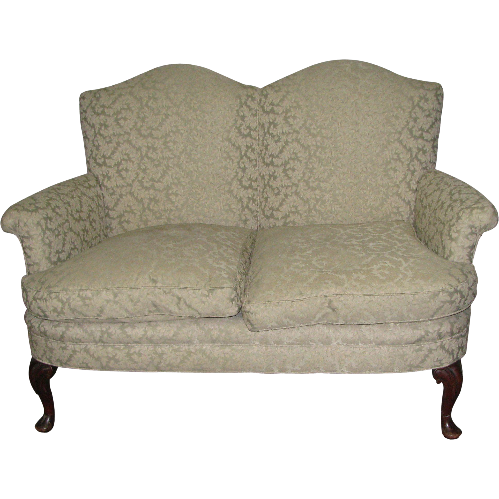 Georgian upholstered ivory love seat