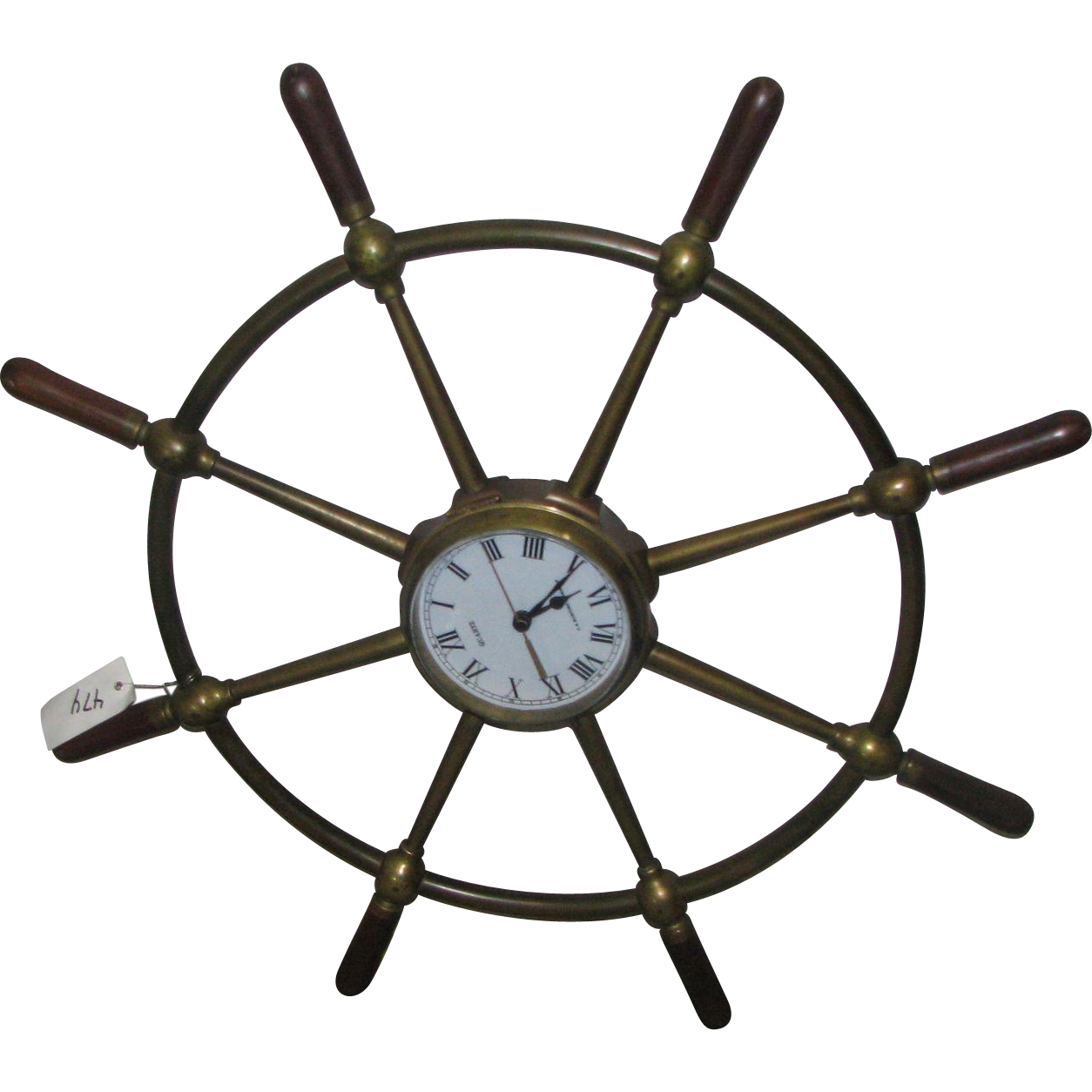 Solid brass ship wheel with quartz clock