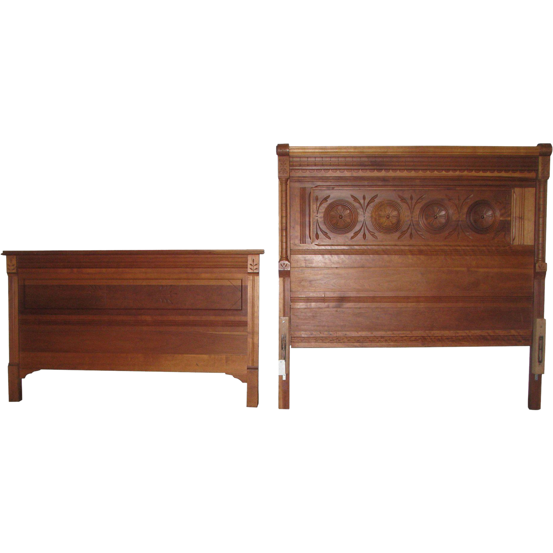 Solid cherry carved Eastlake head board and foot board set