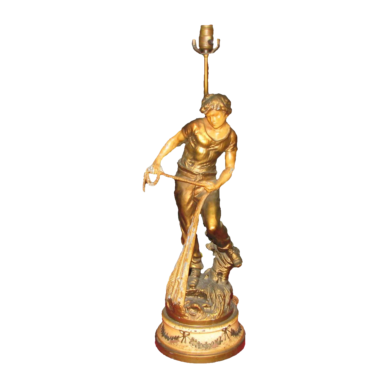 Vintage newel post lamp with young fisherman