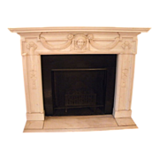 1860-1870 Elegant statuary marble mantel with Jenny Lind center motif