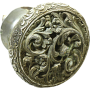 Nickel over bronze ornate door pull