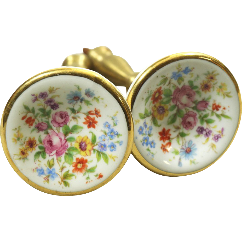 Pretty vintage floral porcelain over brass curtain tie backs