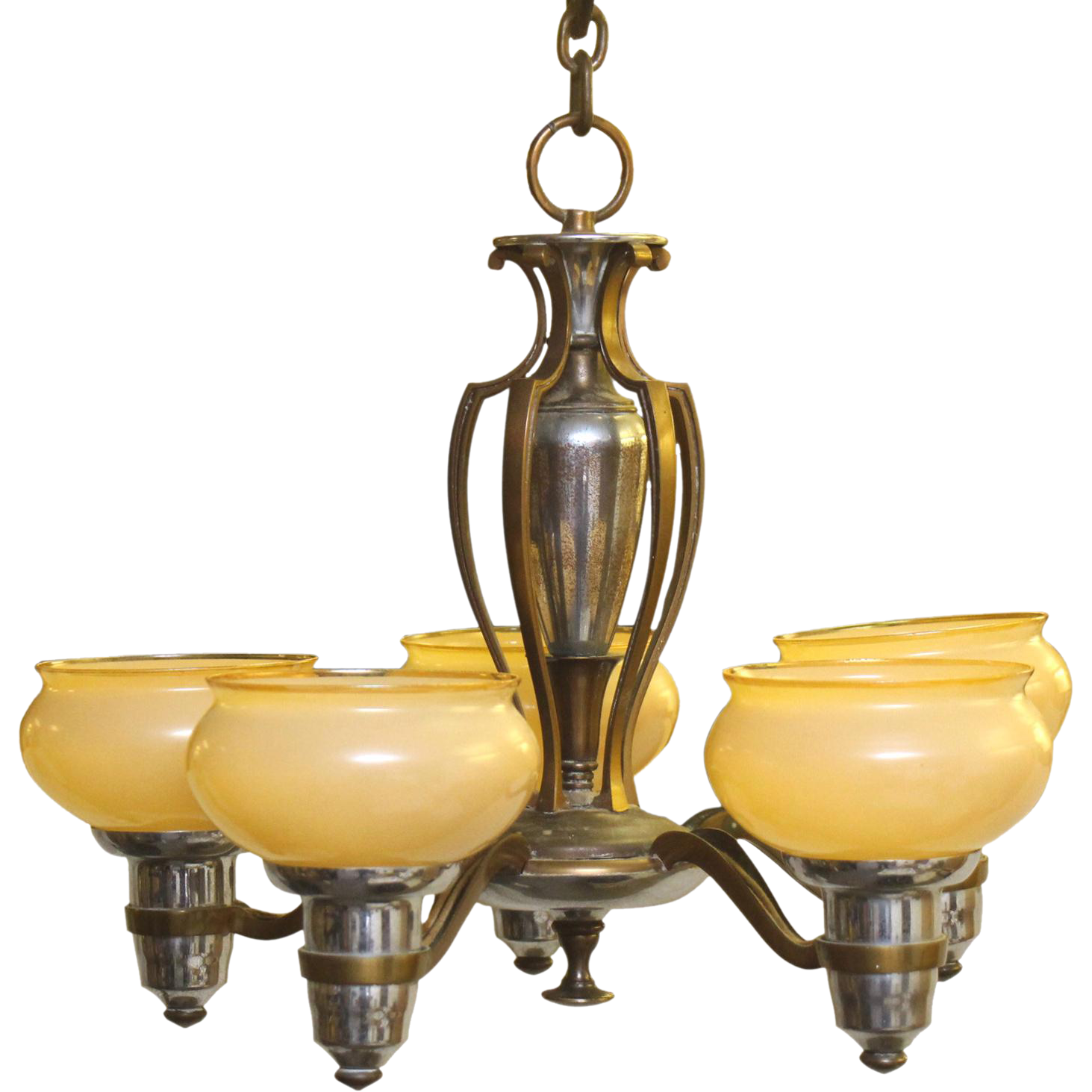 Bronze and nickel chandelier with five glass shade