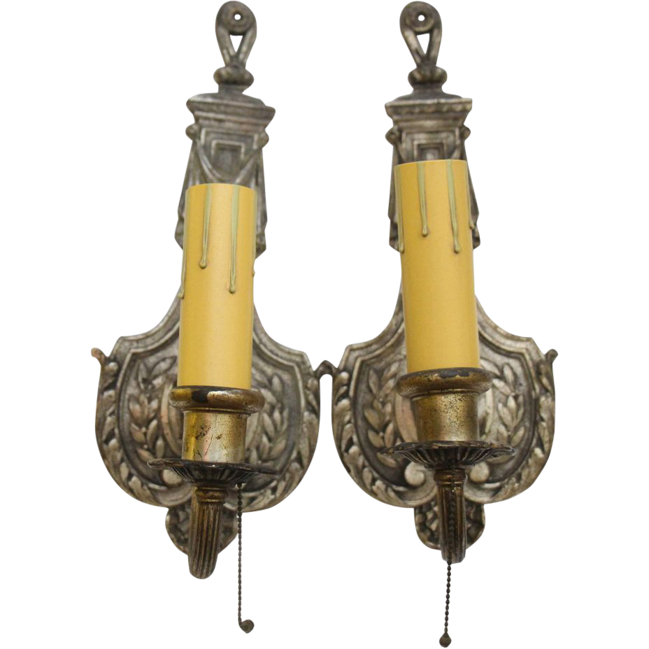 Pair of 19th century silver over bronze French sconces