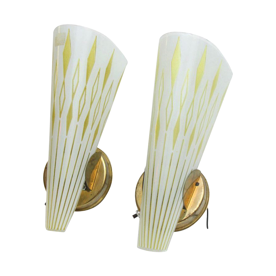 Pair of 1950's Mid century modern walls sconces