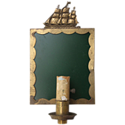 Turn of the century nautical sconces with tall ship motif