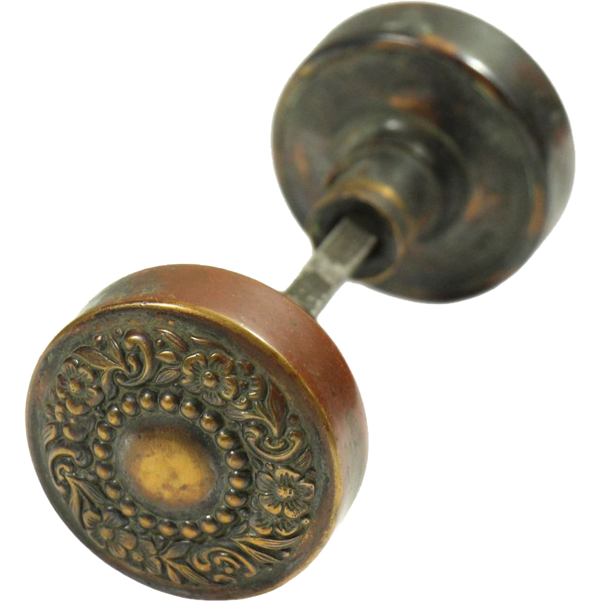 Ornate 19th century floral bronze knob set