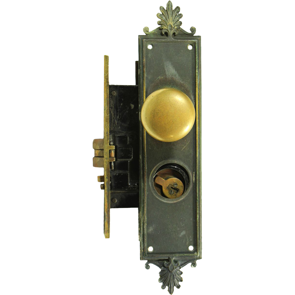 Federal style cast brass entry doorknob set