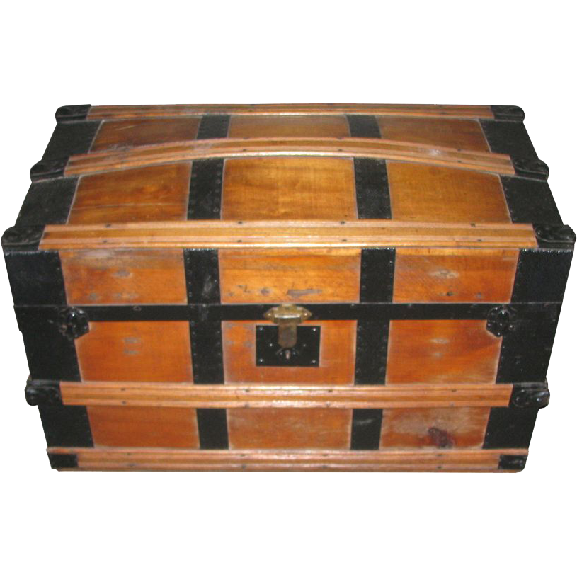Vintage sturdy wooden steamer trunk with wheels
