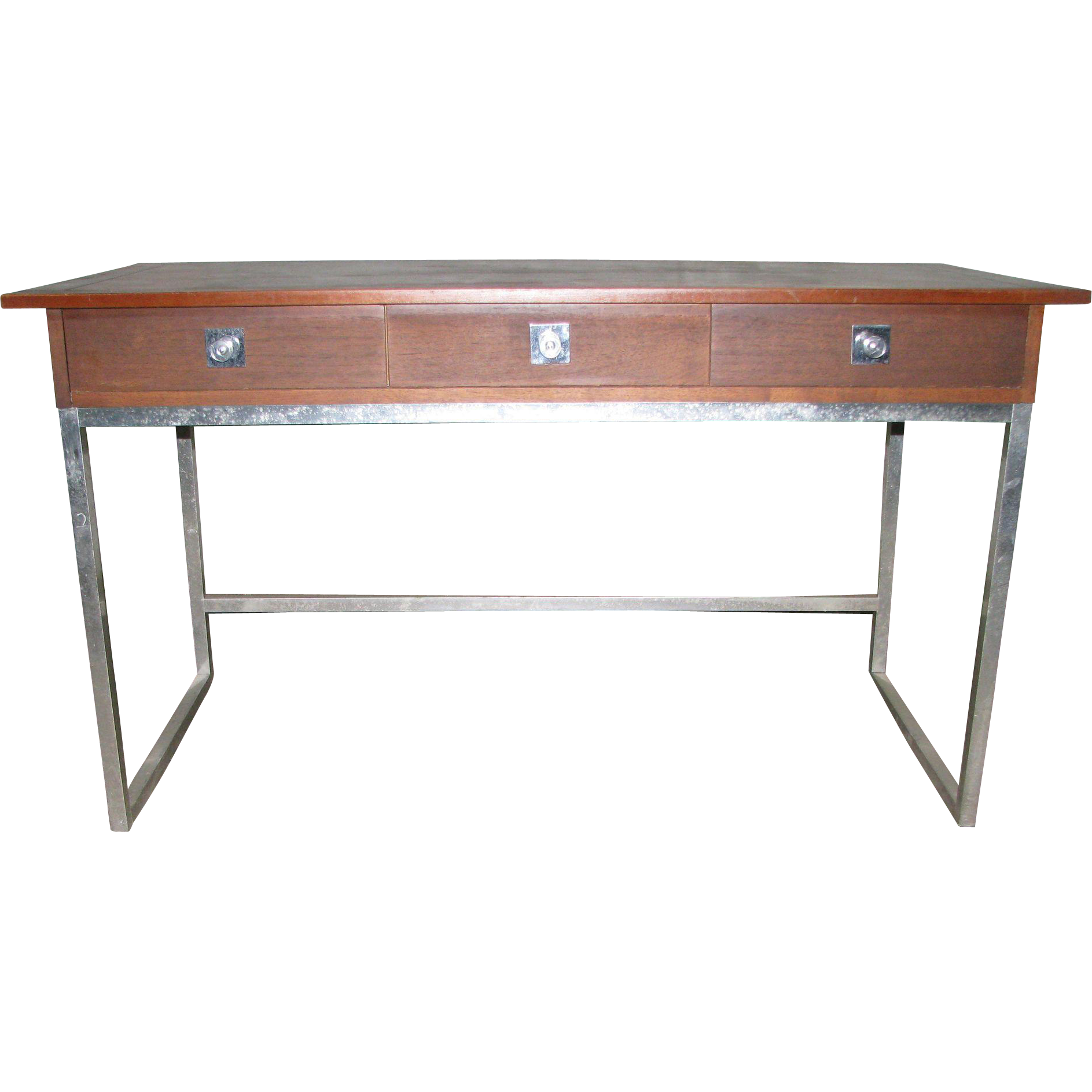 Mid Century Walnut and chrome desk by Vanleigh