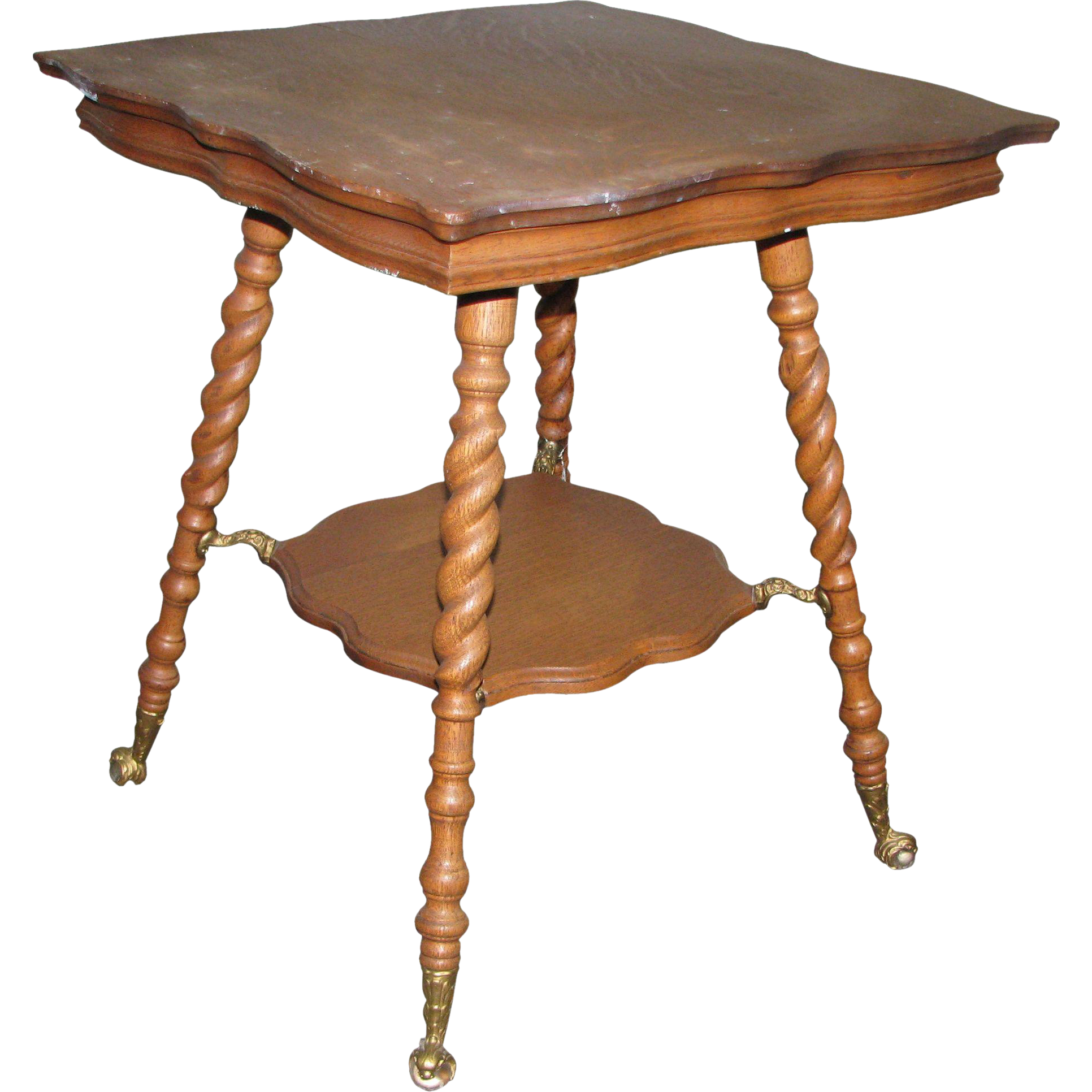 19th Century barley twist oak side table