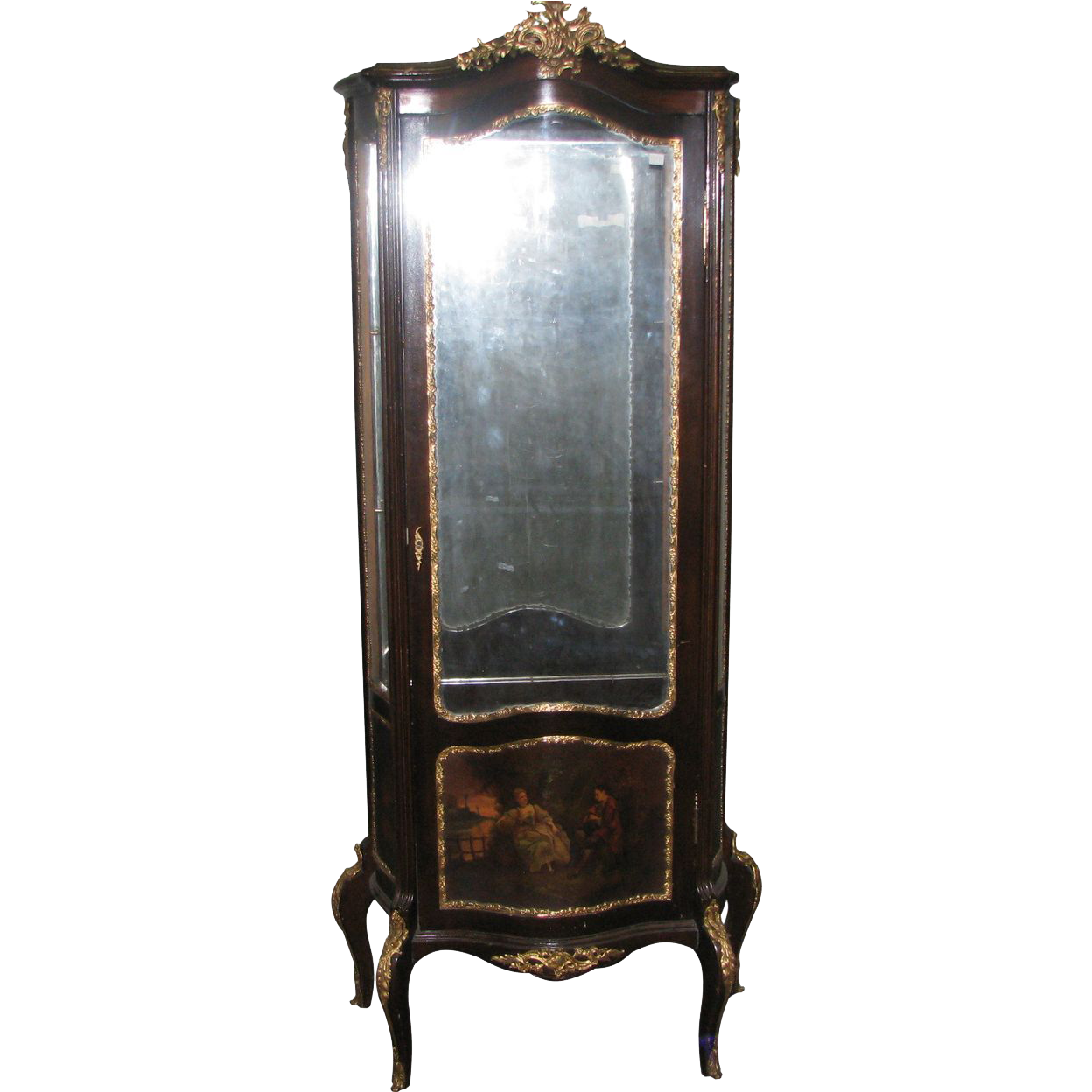 French curio case with scenic front and brass details