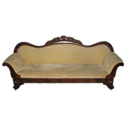Victorian carved walnut sofa with velvet upholstery