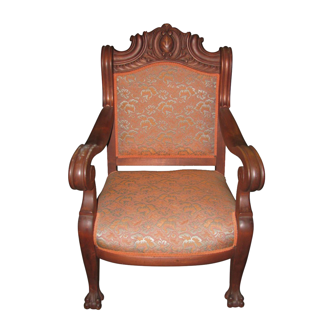 Late 1800's carved wood chair with claw feet