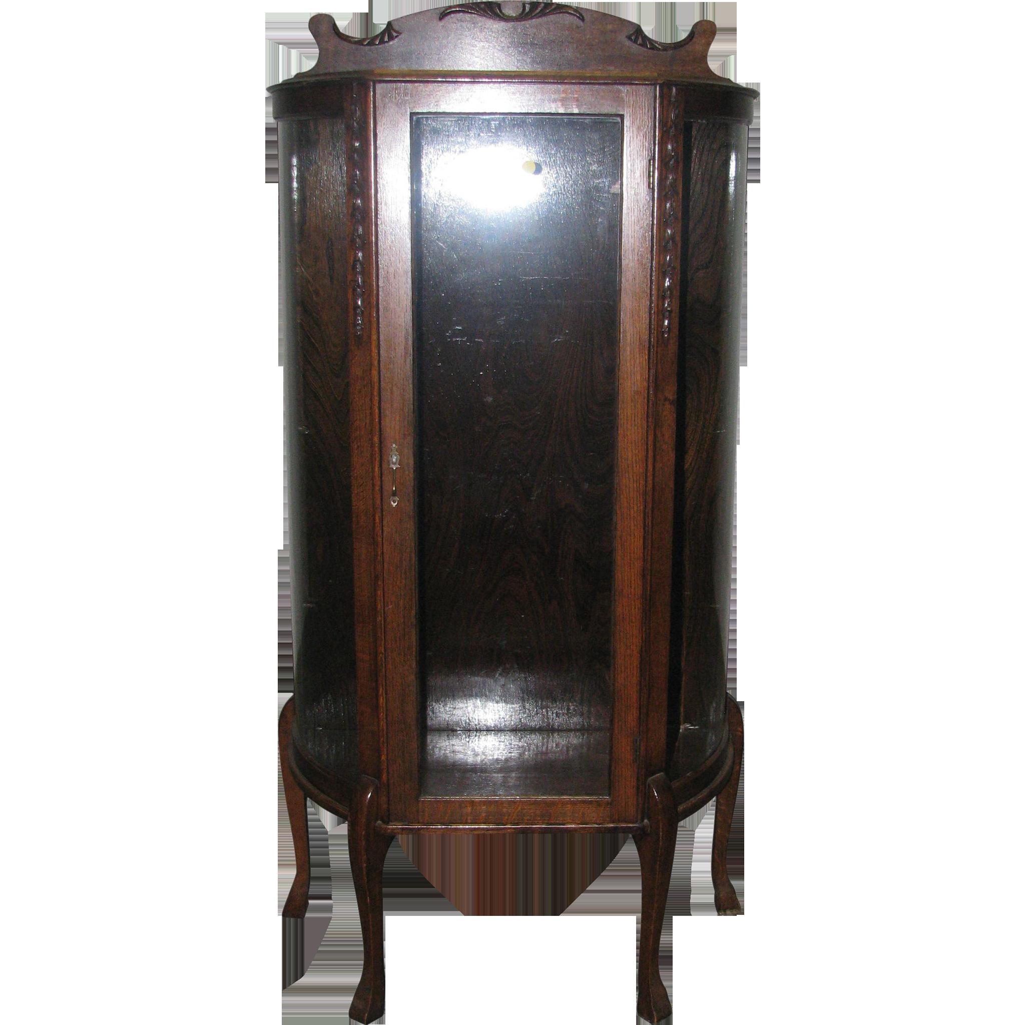 Antique tiger oak curio cabinet