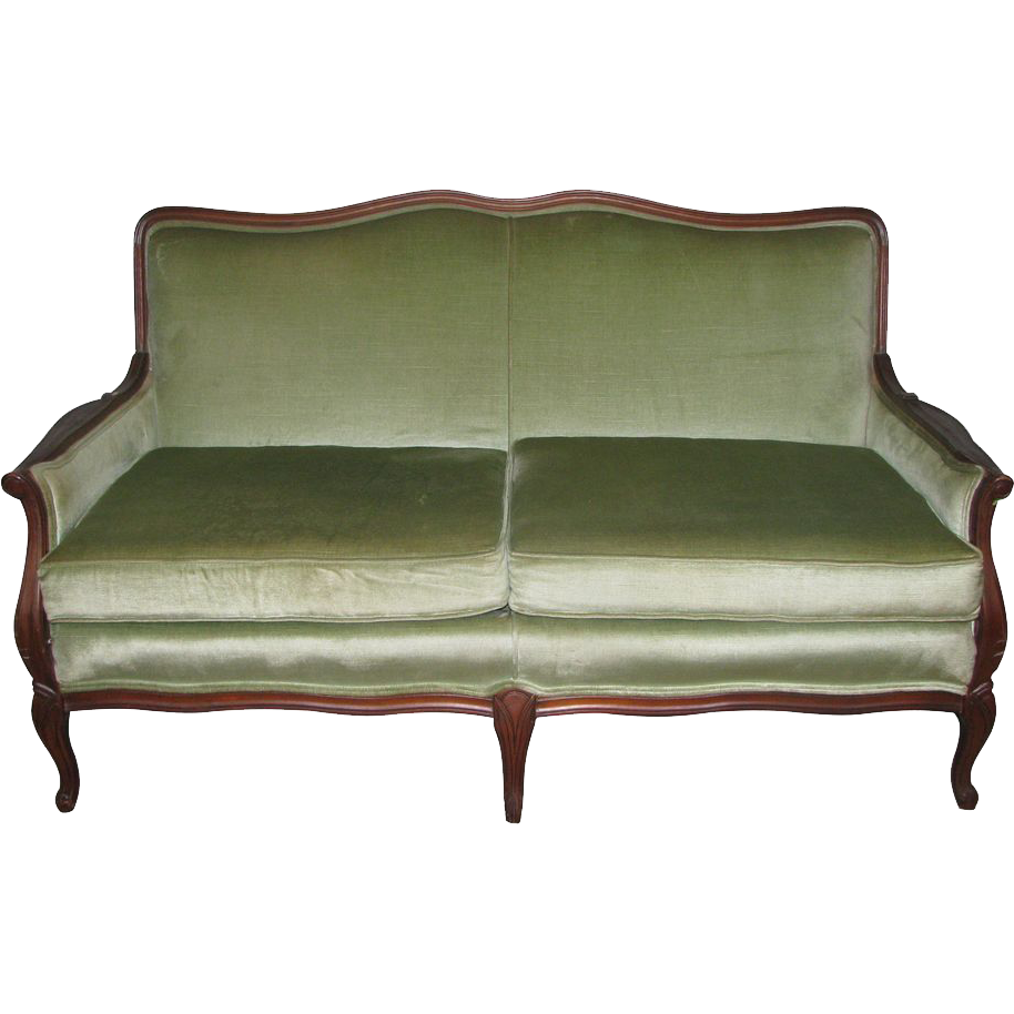 20th Century carved wood frame love seat with plush green upholstery
