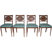 Early 20th century dining chairs with original hand caning