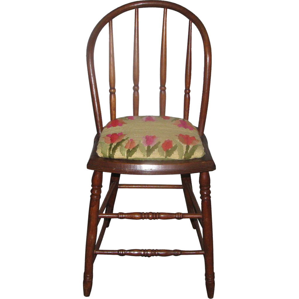 Vintage Bentwood chairs with needlepoint floral cushion - Vintage Bentwood Chairs With Needlepoint Floral Cushion From