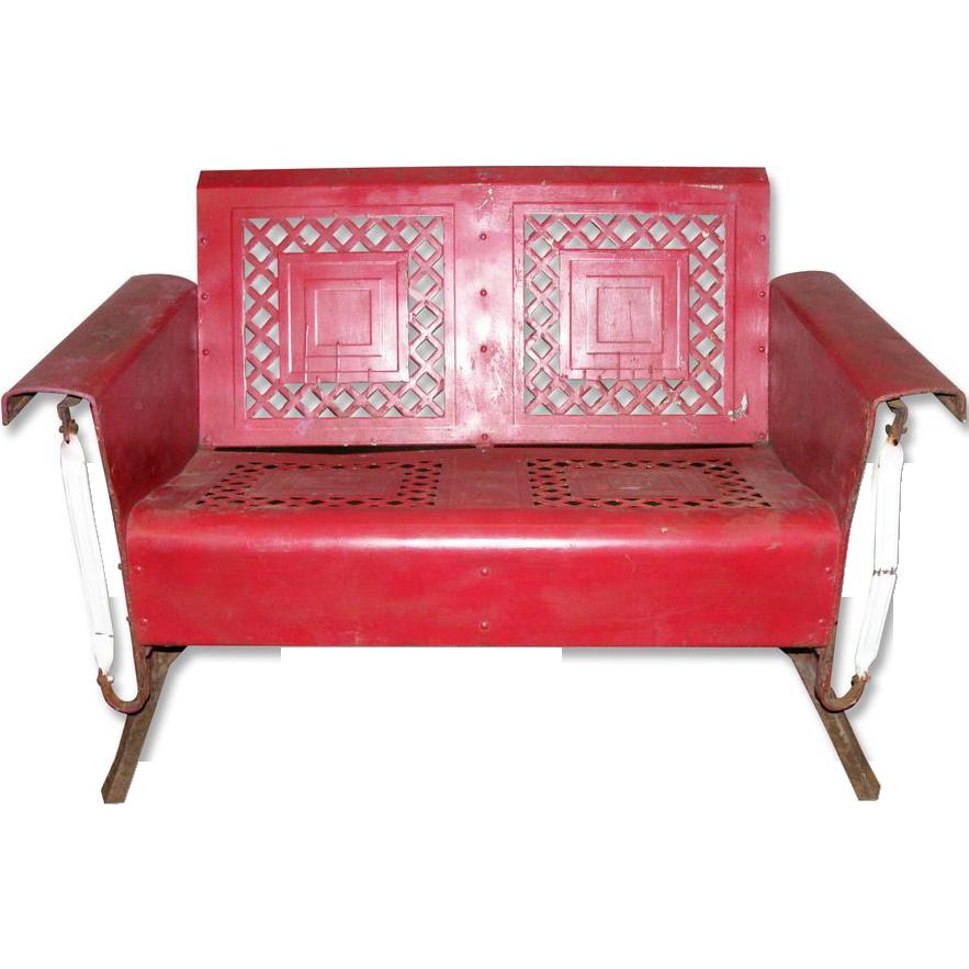 Cherry red vintage metal glider