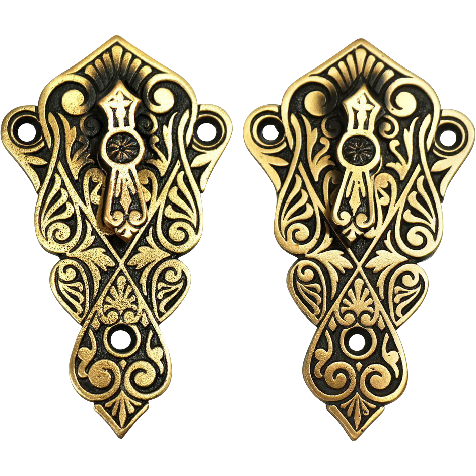 Pair of Victorian  Eastlake bronze key hole covers