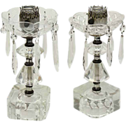 Pair of 1940's crystal and glass vanity lamps