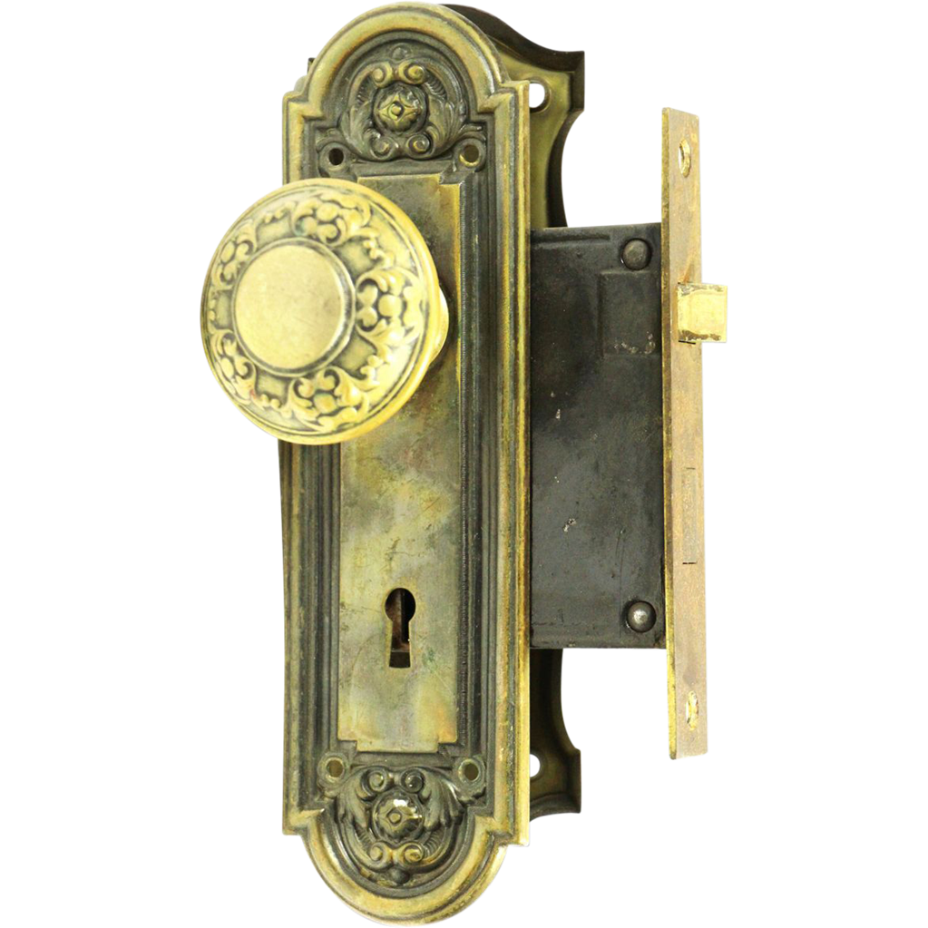 19th Century style pressed brass knob and lock set
